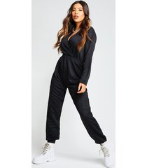 recycled cargo pocket sweat jumpsuit, black
