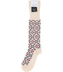 gucci beige, navy and red gg diamond cotton socks