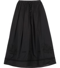 tory burch cotton skirt with micro embroideries