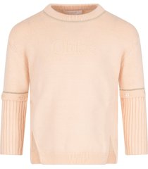 chloé pink sweater with logo for girl