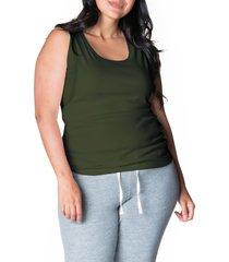 women's bun maternity all day ribbed maternity/nursing tank, size medium - green
