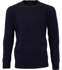 alan paine trui navy lamswol ronde hals ruime fit