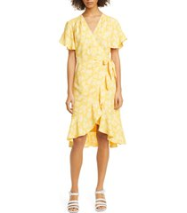 women's joie amelian floral print wrap dress, size xx-small - yellow