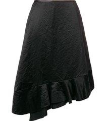 comme des garçons pre-owned 1990's asymmetric ruffled skirt - black