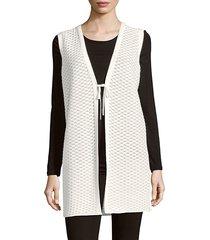tie-front long vest