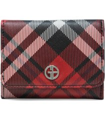 giani bernini saffiano plaid trifold wallet, created for macy's