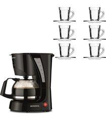 kit 1 cafeteira mondial pratic 110v faz 17 xicaras de café e 1 jogo de 6 xícaras de 90 ml com pires