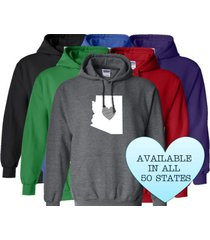 arizona hoodie sweatshirt love home heart unisex men women state