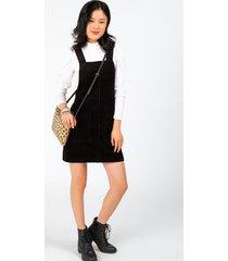 fernanda front pocket overall dress - black