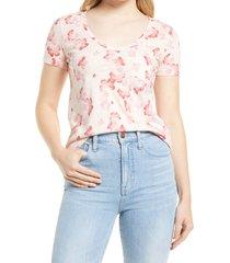 women's caslon rounded v-neck t-shirt, size x-large - pink