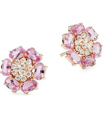 hueb women's 18k yellow gold, violet amethyst & diamond stud earrings