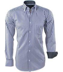 ambassador ongetailleerd heren overhemd stippel motief in de kraag gestreept borstzak / wit zwart