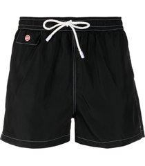 kiton logo-plaque stitched swim shorts - black