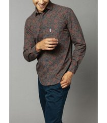 serge blanco men's long sleeve floral print poplin shirt