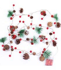 cable de cobre de la cadena de luz led fruta roja cono de pino de aguj