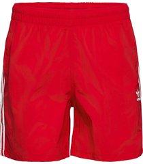 adicolor classics 3-stripes swim shorts badshorts röd adidas originals