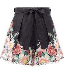 bellitude floral-print linen-poplin shorts