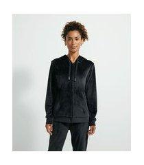 jaqueta esportiva com capuz e bolsos   get over   preto   g
