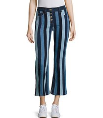patchwork cropped flared pants