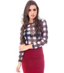 blusa moda vicio manga longa tule xadrez preto