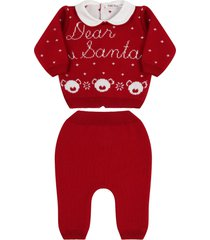 little bear red knit suit for babykids