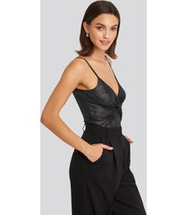 trendyol shimmer neck detail body - black,silver