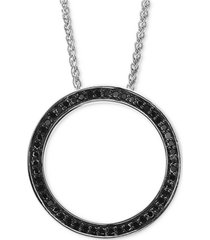 """effy black diamond circle 18"""" pendant necklace (1/6 ct. t.w.) in sterling silver"""