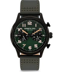 dress sport stainless steel leather-strap watch