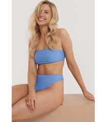 na-kd swimwear thin strap highcut bikini panty - blue