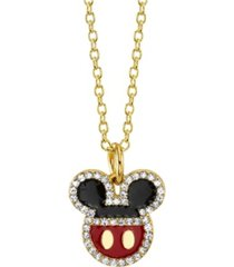 disney gold-tone mickey mouse crystal pendant necklace in fine silver plate