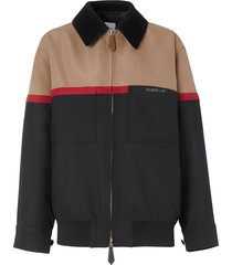 burberry colour block harrington jacket - black