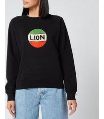 bella freud women's lion badge flock sweatshirt - black/multi - l