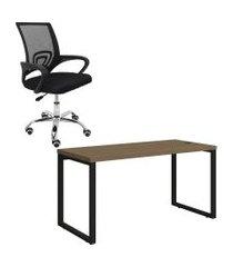 mesa de escritório kappesberg 1.50m com cadeira executiva trevalla
