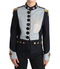 button crystal embellished jacket