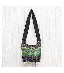 cotton blend shoulder bag, 'vibrant gardens' (thailand)