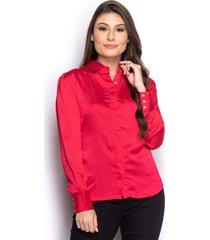 camisa camisete social feminina manga longa casual - vermelho - feminino - seda - dafiti