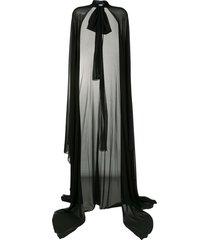 blumarine chiffon floor-length cape - black