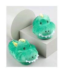 pantufa infantil dinossauro em pelúcia verde