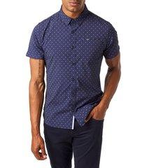 men's 7 diamonds slow blues slim fit sport shirt, size large - blue
