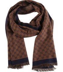 gucci fringed edges logo print scarf