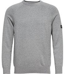 b.intl cotton crw neck stickad tröja m. rund krage grå barbour