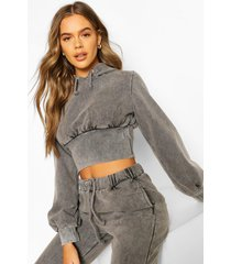 acid wash fitted wasit hoodie, light grey