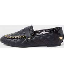 river island womens black chain quilted loafers