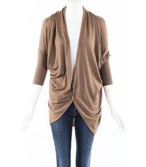 lanvin cashmere silk draped cardigan beige sz: s