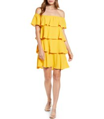 petite women's gibson x hot summer nights natalie off the shoulder ruffle dress, size x-small p - yellow (regular & petite) (nordstrom exclusive)