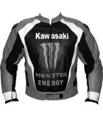 men kawasaki gray black leather jacket ce saftey protection racing hump xs-6xl
