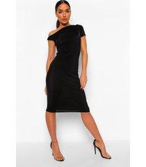 getextuurde strakke midi jurk met open schouder, black