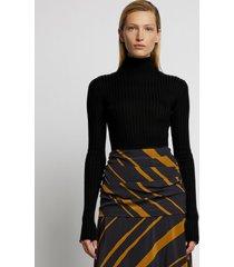 proenza schouler glossy rib knit turtleneck top /black l
