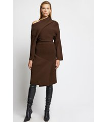 proenza schouler off shoulder rib knit dress /brown m