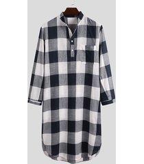 incerun pijama a cuadros para hombre camisón kaftan vestido de dormir camisa